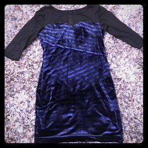Mac Duggal Velvet Stripe Mini Dress Size Large